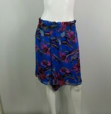 Nordstrom Leith Shorts Size 4X Blue Pink Pull On Floral Lined Elastic Waist