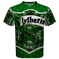 Harry Potter Slytherin Hogwarts Sublimated Mens Sport Mesh Tee t shirt Free Ship