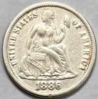 1886 Seated Liberty Dime 10c - Fine (F)