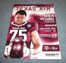 Texas A&M vs Rice Football Game Program Magazine 2013 Jake Matthews Atlanta