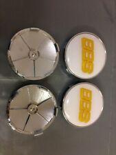 4PCS Gold Logo White Wheel Center Hub Caps Badge For BBS Face 68mm Clip 65mm