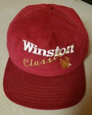 Vintage Winston Classic Red Corduroy Snapback Hat Cap Eagle USA Embroidered