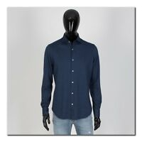 LORO PIANA 775$ Andre Super Soft Cotton Jersey Sport Shirt In Dark Blue
