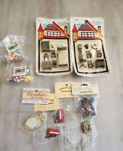 Lot of 40 Vintage NOS Miniatures  Dollhouse, Crafting, Diorama, multiple scale
