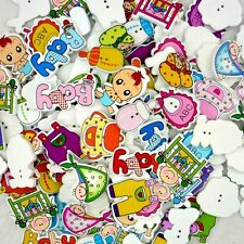 50 pcs Mixed Wooden Baby Theme Buttons Lots Craft Scrapbook Sew DIY