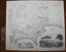 1852 NAPLES NAPOLI Plan of the City Hand Coloured Original Antique MAP Knight