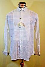 Pal Zileri Men's White Cotton Shirt Long Sleeve Tuxedo Shirt French cuff 16.5 42