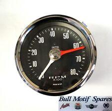 Classic Mini Tachometer / Rev Counter - 80mm (0-8000) Black SIB120