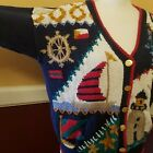 Maritime, Hand knitted Nautical sweater cardigan Ashley Design Woman's Size M