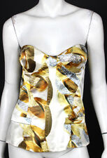 ROBERTO CAVALLI Gold Chain Print Silk Satin Bustier Top 42