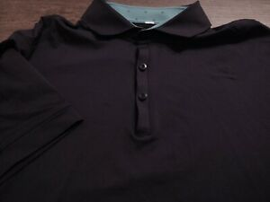 LULULEMON Men's Polo Style Nylon/ Polyester XL SOLID BLACK S/S Shirt