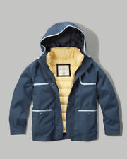 NWT ABERCROMBIE & FITCH KIDS HOODED 3-in-1 JACKET NAVY BLUE SIZE 3/4