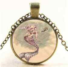 Vintage Mermaid And Sea Horse Cabochon Glass Bronze Chain Pendant Necklace
