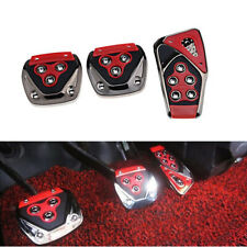 3X Red Manual Transmission Car Brake Non-Slip Foot Pedal Cover Pad Cover Kit