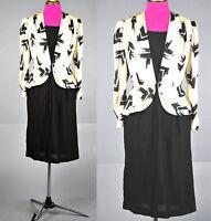 VTG 80s WWII Style wiggle pencil White Black peplum secretary dress S