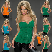 Top Women Clubbing Blouse Ladies Party Vest Ruched Shirt Size 8 10 12 14 Blouse