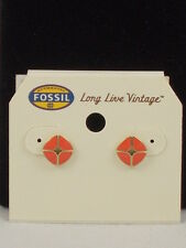 Fossil Goldtone Stainless Steel Coral Iconic Signature Stud Earrings JF00361