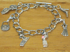 Girl's Day Out/cell phone Silver-Tone Charm Bracelet Purse/Lipstick/Sunglasses+
