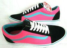 Vans Mens Old Skool Brite Black Neon Pink Canvas Suede Skate shoes Size 9.5 NWT
