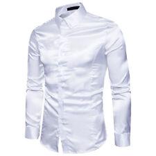 Silk Shirt Men Satin Smooth Men Solid Tuxedo Shirt Business Chemise Homme