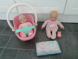 baby annabell bundle-newborn rattle doll,my 1st doll+car seat ,bottle and pillow
