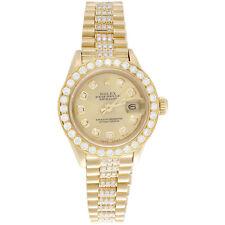 Rolex 18K oro presidente 26mm Datejust 69178 frente Diamante Champaña Reloj 3.70 CT.
