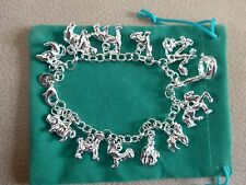 Silver 925 Charm Bracelet with 12 SP Animal Charms Lion Dog Horse Mouse Chimp