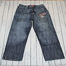 Rocawear 35X34 Medium Stonewash Distressed Patches Straight Leg Denim Blue Jeans