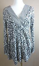 Schicke S. OLIVER Long Bluse, Tunika  Baumwolle schwarz-weiß-grau gem. Gr. 40