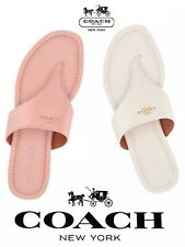 NIB COACH NY Signature Logo JODI Pink White Chalk Rose Leather Thong Sandals