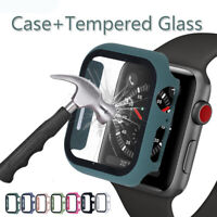 Tempered Glass For Apple Watch Series 5 4 3 2 1 Bumper Hard Case Cover 44mm 40mm