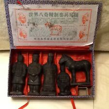 Chinese Terracotta Qin Dynasty Warriors Horse Mini Statue Figurines 5-Pc Set