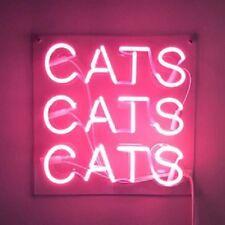 "New Cats Cats Cats Pink Artwork Handmade Acrylic Neon Light Sign 14""x10"""