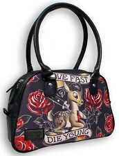 Liquor Brand Live Fast Die Young Bowling Bag Purse Deer Knife Roses B-BW-008