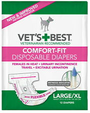 Vet's Best Diapers, Female Dogs, Comfort-Fit Disposable, Large/X-Large, 12ct