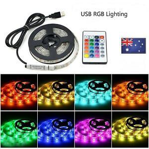 5V 2M 200CM USB LED Strip Light RGB 5050 TV Back Colour Changing +Remote Control