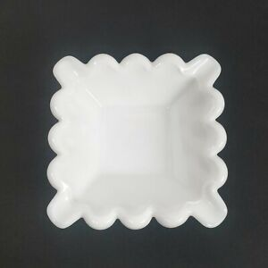 "Vintage Square Milk Glass Trinket Dish Scalloped Edge 4.5"""