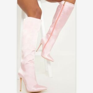 Women Pointy Toe Stilettos High Heels Knee HIgh Boots Winter Zipper Sexy Shoes