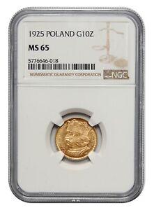 Poland, 10 Złotych, 1925, Bolesław Chrobry, NGC MS 65