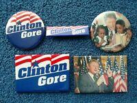 Lot of 5 Bill Clinton/Al Gore 1992/1996 Campaign Pins Buttons President