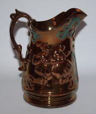 """Antique Copper Lustre Ware - Large 7 3/4"""" Relief Moulded Jug - vgc"""