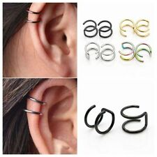 2pc Clip On Triple Closure Ring Double Hoop Fake Cartilage Ear Cuff Non-Piercing