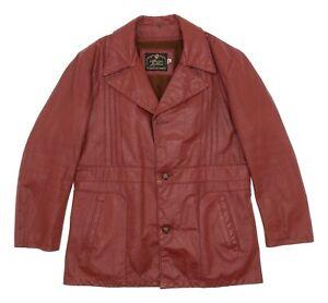 Vtg BARNSTORMER Leather Jacket M Medium Mens Western Overcoat Leather Coat