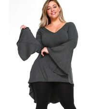 Womens Charcoal Gray Size 4X High Low Bell Sleeves Asym Top WearOrGoBare