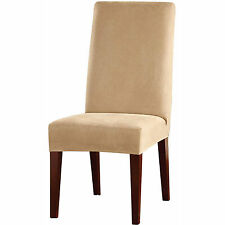 Sure Fit Stretch Leather Short Dining Room Chair Slipcovers, Camel (Set of 2)