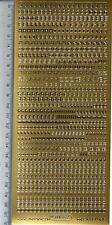 Aufkleber Stickerbogen Sticker Mini Zahlen Klein + Gross-Buchstaben gold (545