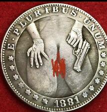 Very Large girl with gun Tibetan Silver Morgan Dollar art coin