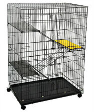 Metal Pet Cat Play Pen Wire Cage Kitten Large Folding Collapsible Wheel Rolling
