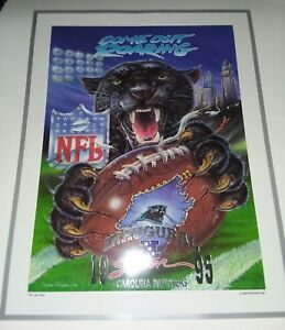 """*RARE* CAROLINA PANTHERS NFL INAUGURAL LITHOGRAPH 21 x 27 """" COME OUT ROARING """""""