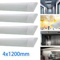 4x 4FT 1200mm Slim LED Wide Batten Tube Light Ceiling Strip Bar Light Daylight